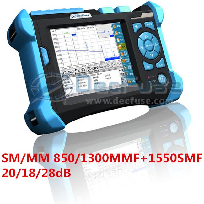 Handheld OTDR SM/MM 850/1300MMF+1550SMF 20/18/28dB Single mode Multi Mode optical measuring equipment network tester dead zone()