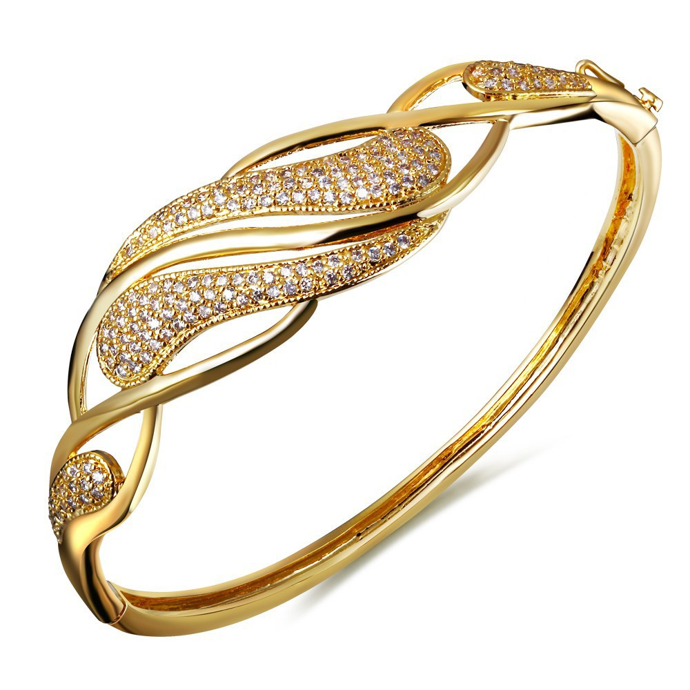 New Fashion Twist Designed Women Cubic Zirconia Deluxe Bangle Lead Free Platinum & 18K Gold Plated Nice Bridal Jewelry Bracelet(China (Mainland))