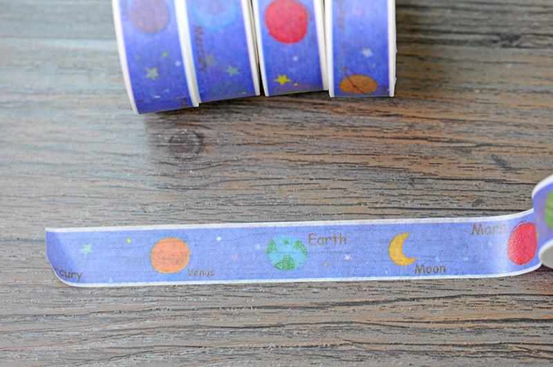New 1x Solar System Themed Blue Color Japanese Washi Tape Pegtinas Scrapbooking Tool Cinta Adhesiva Decorative Masking Tape 10M(China (Mainland))