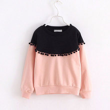 Children Girls sweatshirts 2016 Spring Fashion Color patched 100% cotton knitted Snow Ball long-sleeved loose shirts for girls(China (Mainland))