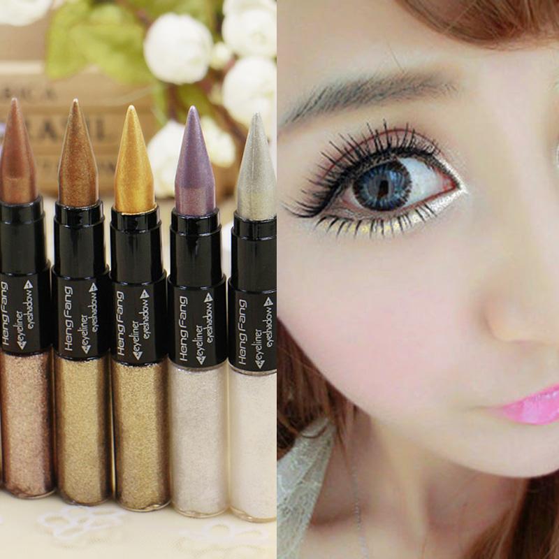 New Brand Professional Cosmetics Shining Bronzer Multifunction Gold Cream + Liquid Eyeliner For Women Full Size Liquid Eyeliner(China (Mainland))