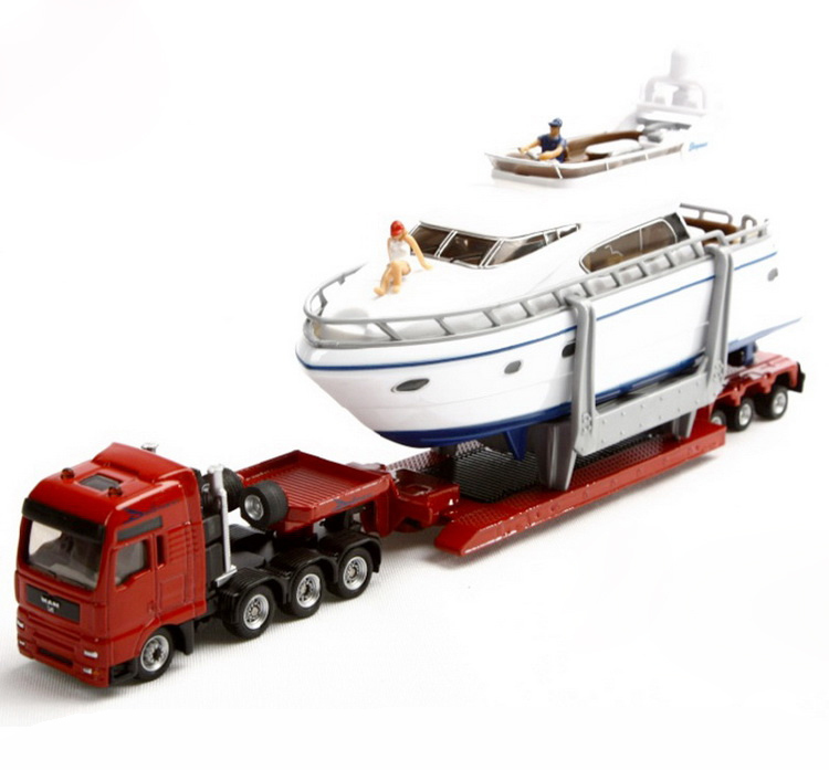 SIKU 1849 heavy haulage transporter with yacht 1:87 alloy metal model car toy collection(China (Mainland))