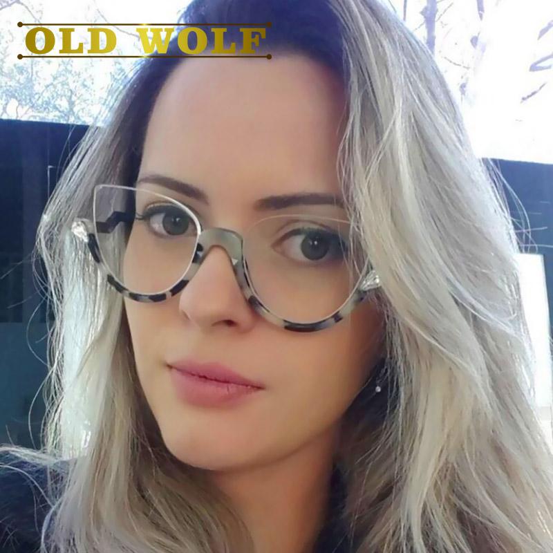 fashion women clear len glasses frames famous brand designer half frame cat eye eyeglasses leopard shield