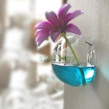 Semicircular Clear Hanging Glass Plant Flower Vase Hydroponic Container Fish Tank Home Wall Wedding Decoration(China (Mainland))