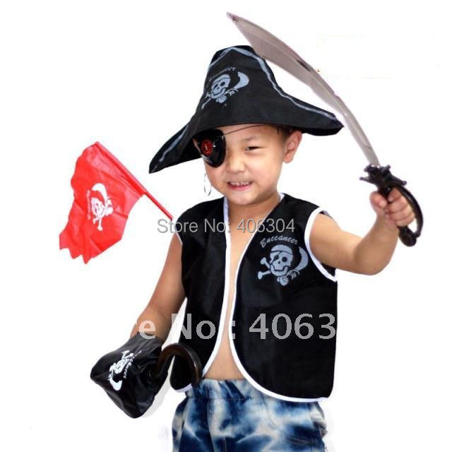 Free Shipping ,Children Pirate costume Set( waistcoat Pirate hat eyeshade Earrings eagle hook knife,and flag party suppliers(China (Mainland))