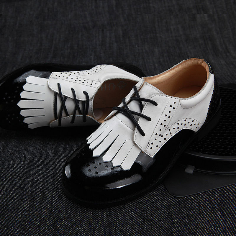New Boys & Girls Genuine Leather Shoes Fashion Kids Dress Shoes for Boy Lace-up School Casual Shoes Student Children Show Shoes(China (Mainland))