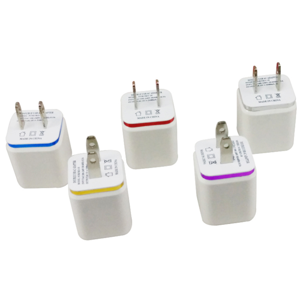 US Plug Dual 2 port USB Moblie Phone Charger Universal Travel Power Adapter Wall Charger for iPhone Samsung HTC all phones(China (Mainland))