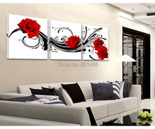 Direct factory price!Modern wall art decor 3 piece black white red rose flower picture print living room wall paintings canvas(China (Mainland))