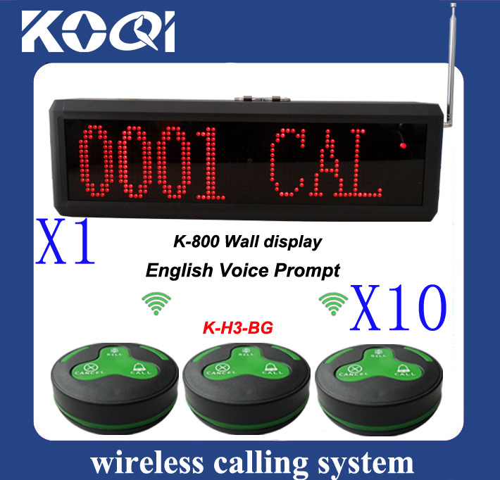 Wireless waiter call system,10 pcs of H3-BG table bell and 1 pcs of K-800 english voice prompt reciever(China (Mainland))
