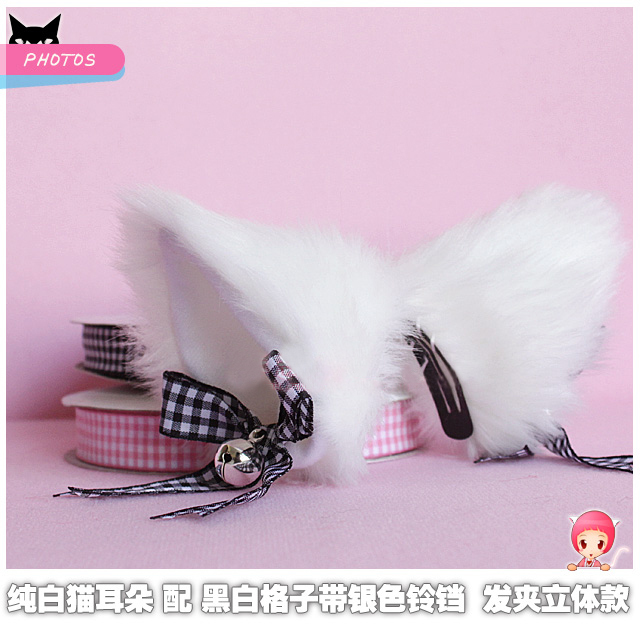 Free shipping 1 pair cosplay cat ear hairpin with bell and color strap plush cat ear clip lovely party headwear(China (Mainland))