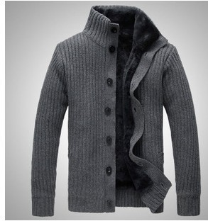New 2015 Fashion Stand collar long sleeve Casual Knitted Sweater Man plus thick Cardigan Sweater A1241
