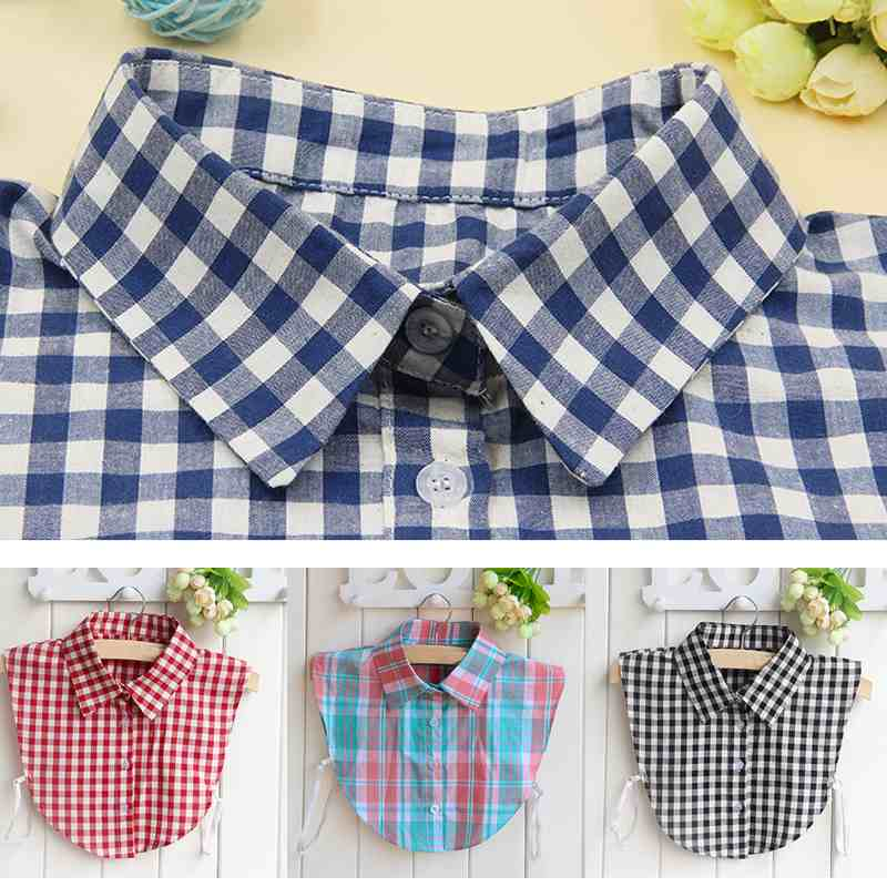 British Plaid Style Detachable Fake Lapel Womens Fake Shirt Collar NecklaceОдежда и ак�е��уары<br><br><br>Aliexpress