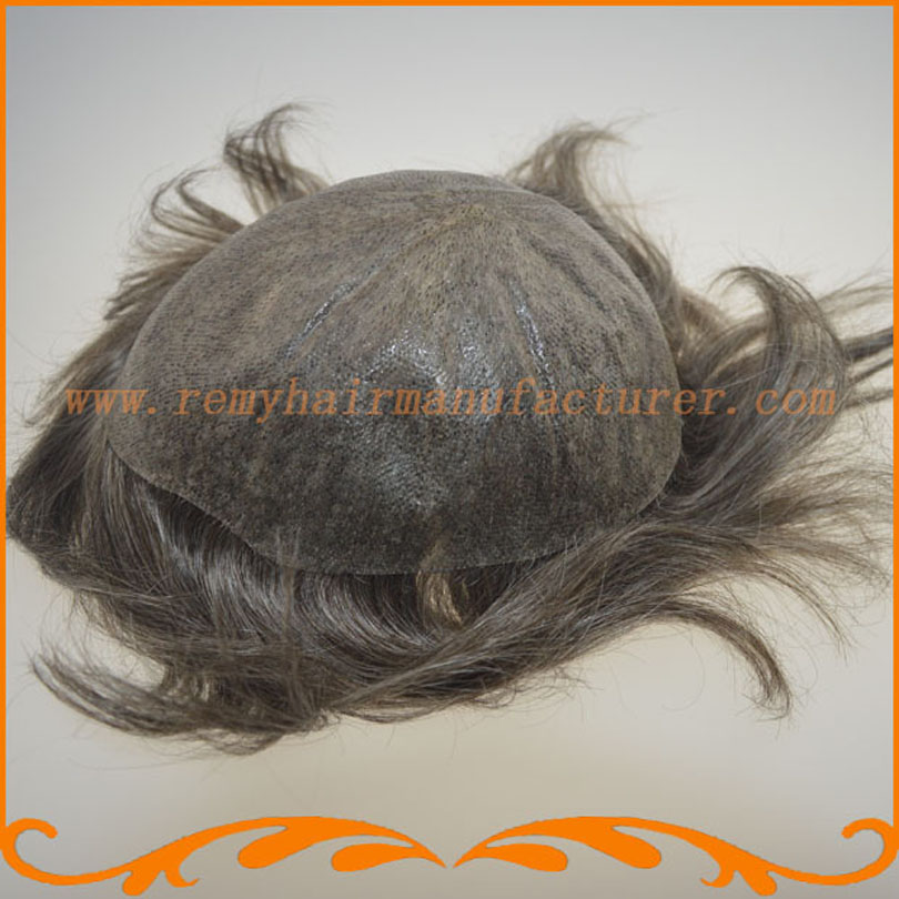 Full PU thin skin toupee base size 8*10inch can be cut V-looped Indian hair toupee mens hair piece stock free shipping(China (Mainland))