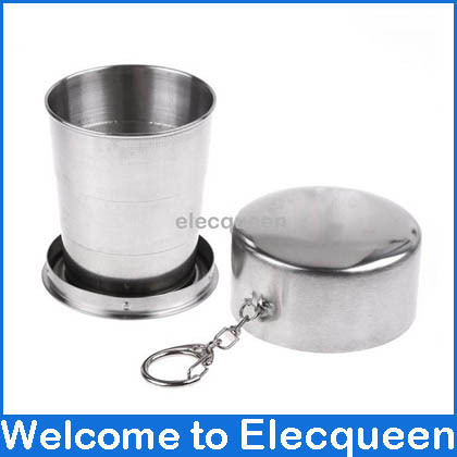2 pcs/lot, Collapsible Folding Mug Stainless steel Camping Telescopic Cup Hiking water cup with three section(China (Mainland))