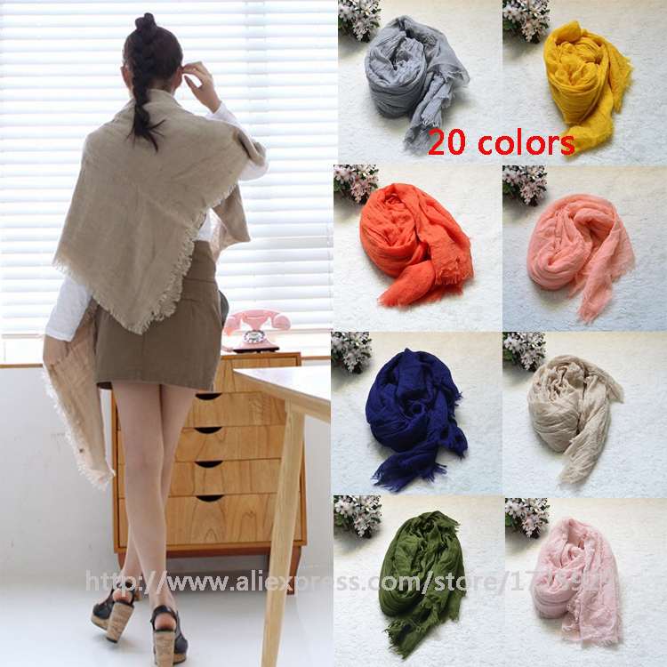 Cheapest Winter Women Fashion Solid Cotton Voile Warm Soft Candy Scarf Shawl Cape 20 Colors Available free shipping(China (Mainland))