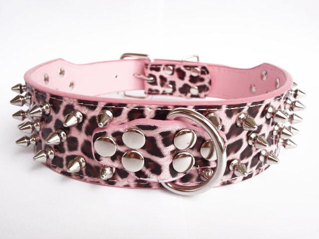 "2""pu Leather Dog Collar Spiked 15""-22"" Pitbull Studded Mastiff pet collar pink leopard collar perro(China (Mainland))"