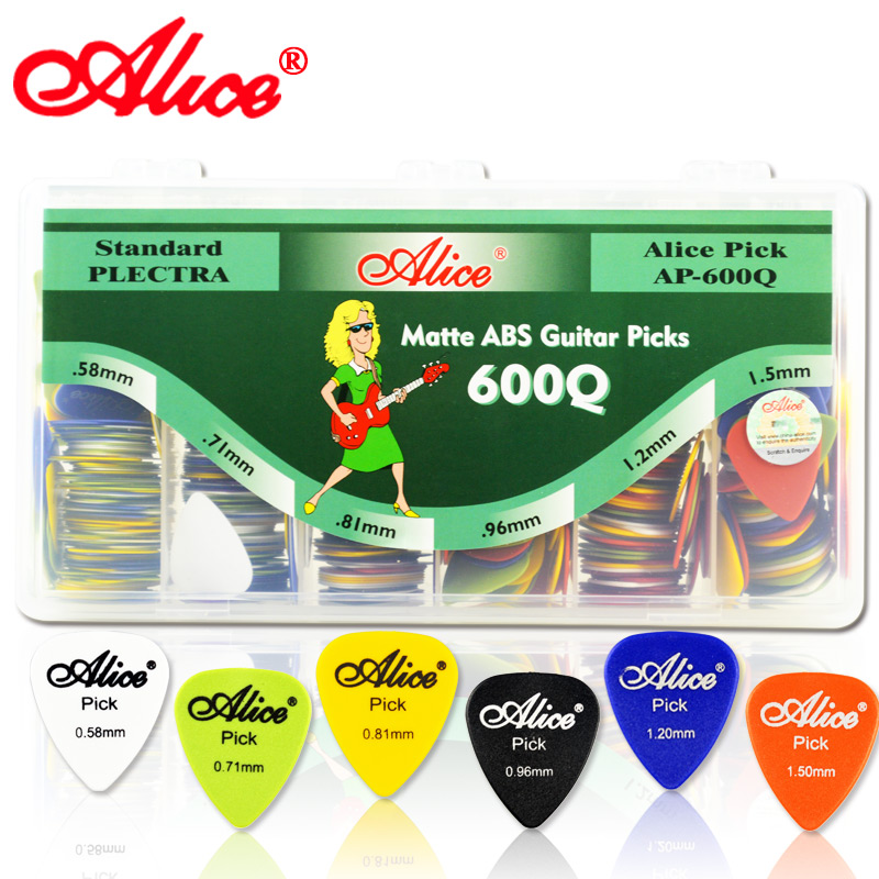 600Pcs/Lot ALICE AP-600Q Grind Arenaceous ABS Guitar Pick / Bass Pick Thickness&Colors With Plastic Box(China (Mainland))
