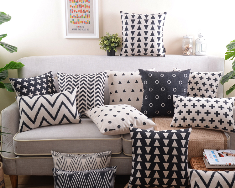 Retro Decorative Pillow Covers black and white geometric Home Decoration Pillowcase abstraction Cushion Cover(China (Mainland))