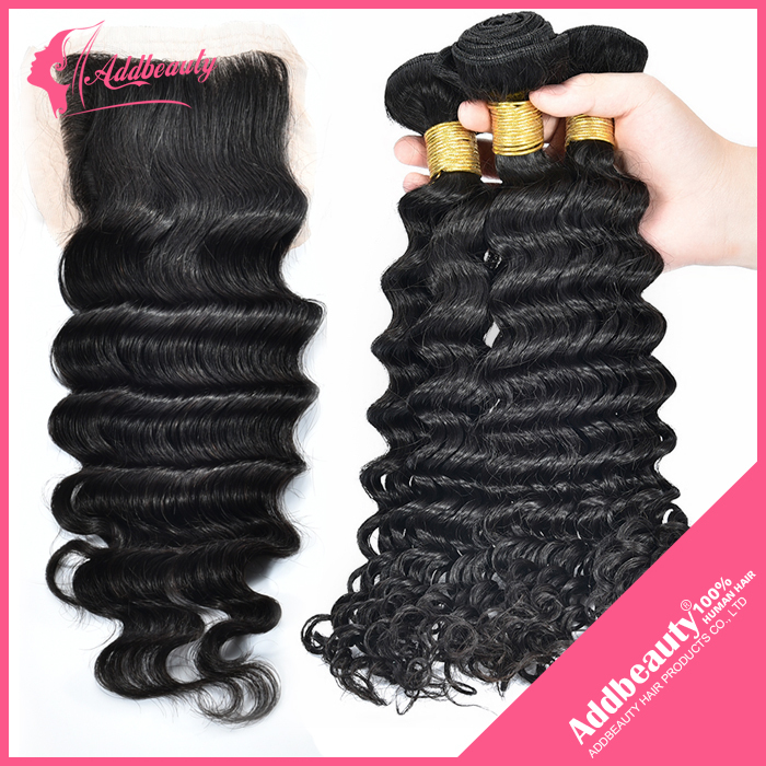 3pcs Malaysian Deep Wave Curly hair with closure, 100% Unprocessed Malaysian Deep Wave Curly Hair with Closure Hot Sale<br><br>Aliexpress