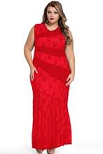 Plus Size Lace Maxi Dress Women Mermaid Prom Summer Dresses Lady Female Fashion Sleeveless O Neck Long Dress vestidos 2016 Sale(China (Mainland))