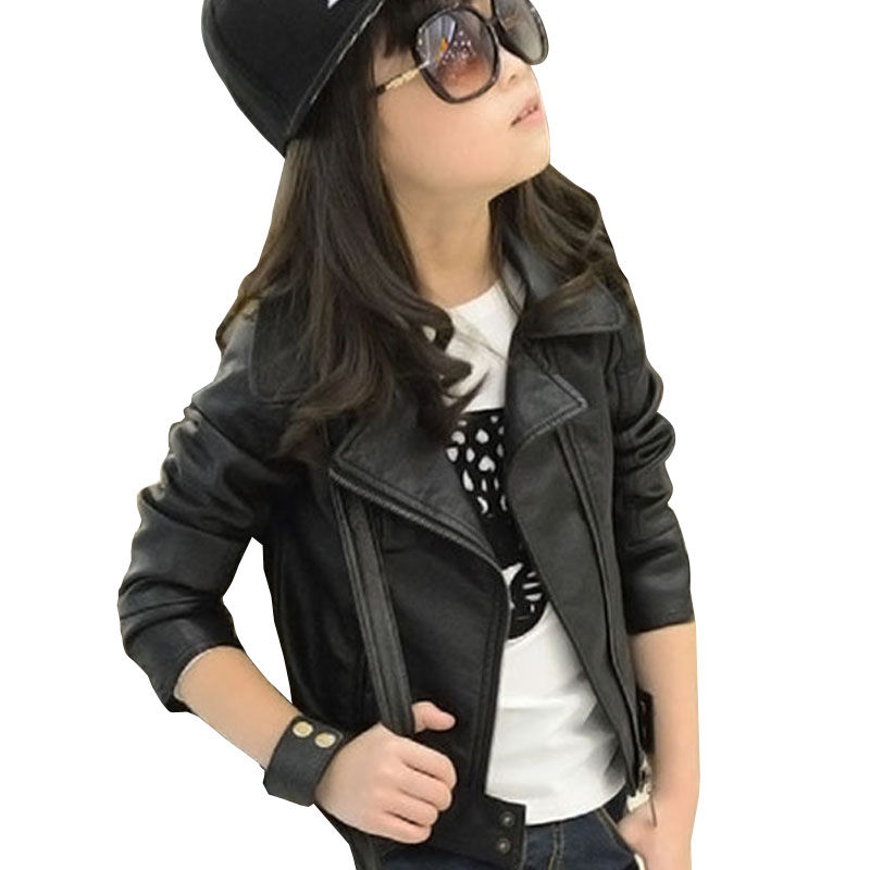 2016 New Baby Girl Leather Jacket Kids Girls Coats Spring Kids Faux Leather Jackets Girls Casual Black Solid Children Outerwear(China (Mainland))