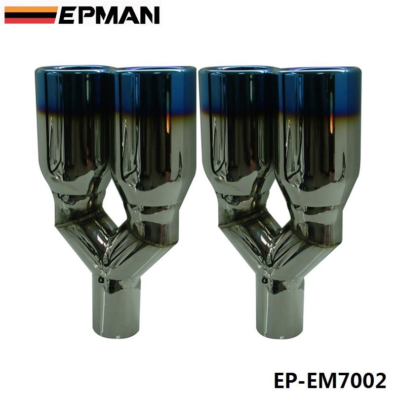 Здесь можно купить  EPMAN 2pcs/set Caliber 5.2cm Universal Blue 304 Stainless Steel Chrome Exhaust Muffler Tip EP-EM7002  Автомобили и Мотоциклы