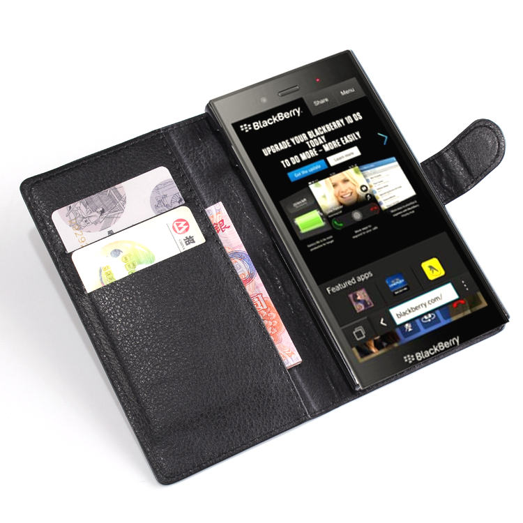 Free Shipping Z3 Wallet Flip PU Leather Cover Case For BlackBerry Z3 Card Slots Holder(China (Mainland))