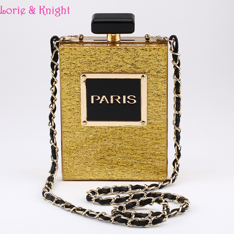 Hotest Star Style Acrylic Perfume Bottle Stylish Evening Clutch Party Bag Vintage Sling Chain Bag Cross Body Bag<br><br>Aliexpress