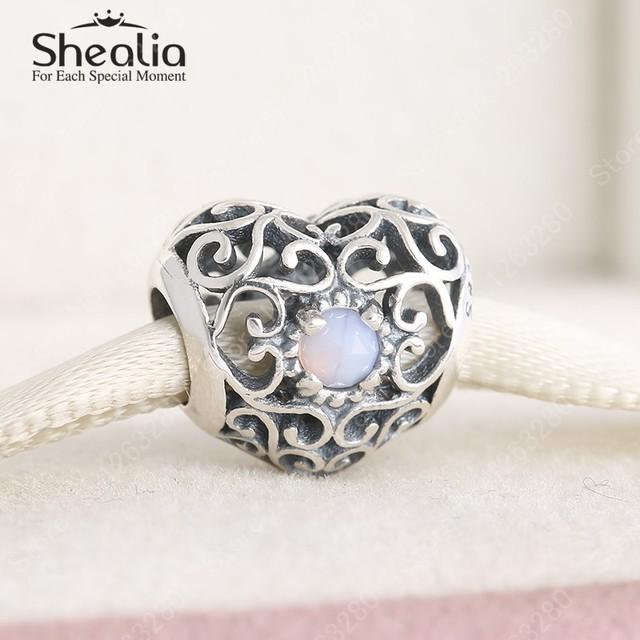 Стерлингового серебра 925 ажурные в форме сердца опал розовый кристалл октября камень подвески ювелирных украшений женщины Bracelets DIY аксессуары BD306