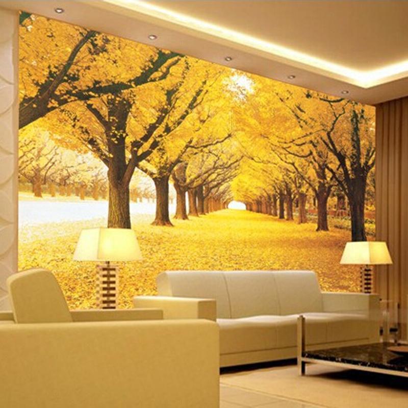 Great wall modern 3d wall mural wallpaper golden grove for Contemporary wall mural