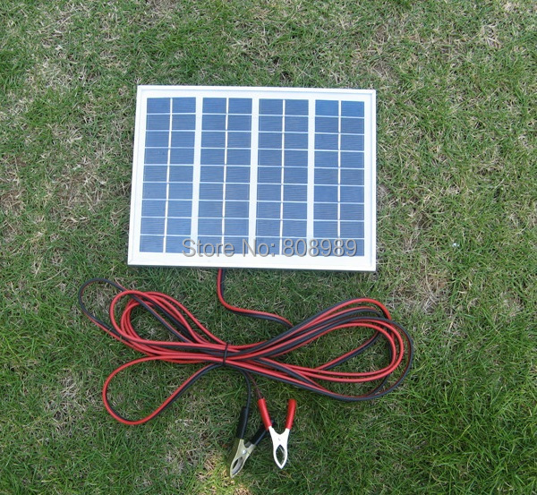 5W 18V Solar Cell Polycrystalline Solar Panel Diy System+4M Cable Crocodile Clip For Charging 12V Battery 2pcs/lot Free Shipping<br><br>Aliexpress