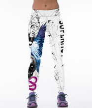 2016 Fitness Sport Stretched Harajuku White Leopard Slim Gym High Waist Adventure time Leggins Gothic Women Workout Legins Pant