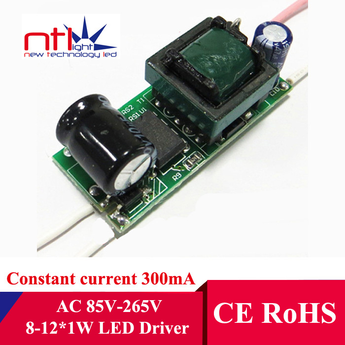 Free ship 8-12*1W None Dimmable LED Driver 8W 9W 10W 11W 12W lamp tranformers 300mA bulb bulbs constant current power supply(China (Mainland))