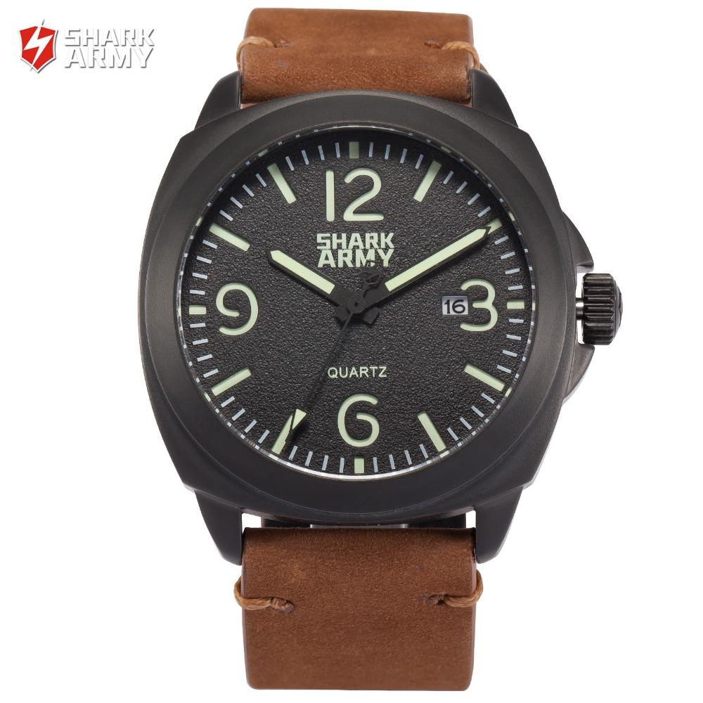 SHARK ARMY Black Auto Date Full Steel 100m Waterproof Brown Leather Band + Iron Gift Box Quartz Men Military Sport Watch /SAW183(China (Mainland))