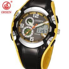 Moda OHSEN marca Digital de los niños deportes niños a prueba de agua negro Rubber Band reloj Popular reloj militar para el regalo