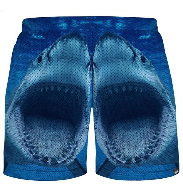Новое лето повседневная пляж шорты Хип-Хоп акула печати мужская 3D шорты мода