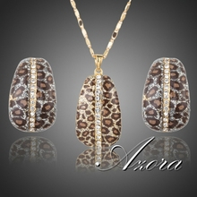 AZORA 18K Real Gold Plated Leopard With Stellux Austrian Crystal Clip Earrings and Pendant Necklace Jewelry Sets TG0204(China (Mainland))