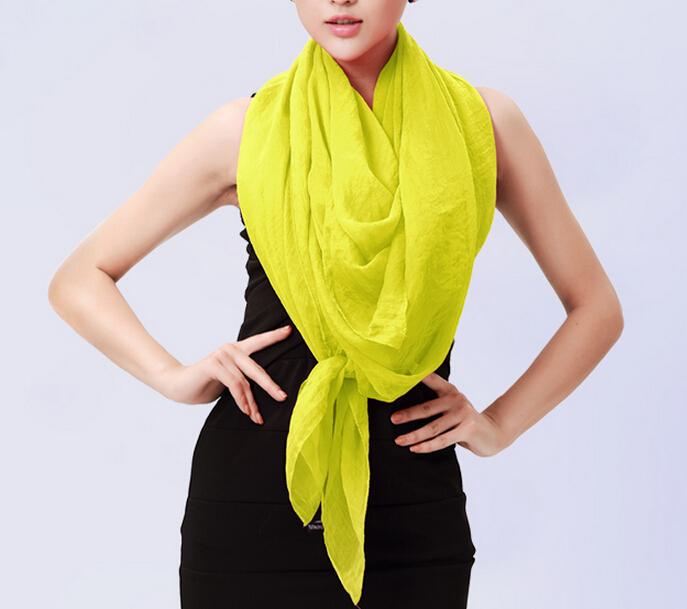 Women Fashion Autumn Summer Solid Color Large Square Silk Scarves Soft Muslim HIjab Headband Cheap Shawl 90*90cm(China (Mainland))