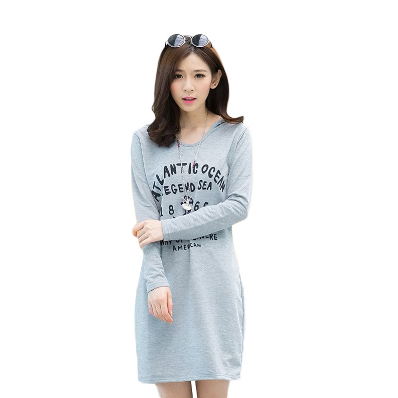 vestidos 2015 Fashion women Plus size dresses Casual Hooded Cotton Print Bodycon Dress Loose Knee Length Summer Sport 558 - GREENBUY STORE LIMITED store
