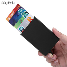 High Quality Rfid Wallet Aluminium Wallet Automatic Card Holder Alloy Magic Pop Up Click Slide Men ID Name Credit Card Case(China (Mainland))