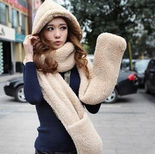 Толстый и мягкая шаль зима теплая с капюшоном шарфы и варежки для женщин пять цветов