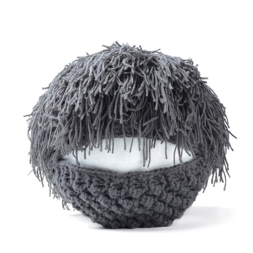 New Qualified Halloween Beard Wig Hats Handmade Knit Warm Winter Caps Men Women Kid Gift dig683(China (Mainland))