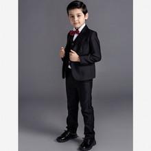 Mode fleur garçon costume 5 pcs mis veste + pantalon + veste + cravate + chemise Boy tenue de soirée de mariage parti tenue pour enfant mâle bleu ou noir(China (Mainland))
