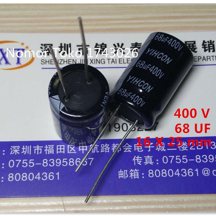 Pengiriman gratis 10 pcs/lot Aluminum electrolytic capacitor 68 uF 400 V 16*26mm 400V 68uF Electrolytic capacitor ic(China (Mainland))