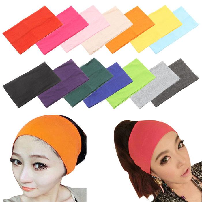 Stylish Women Candy Color Wide Yoga Headband Stretch Hairband Elastic Hair Bands Turban(China (Mainland))