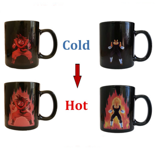 Free Shipping Dragon Ball Z Coffee Mug Goku Vegeta Heat Reactive Color Changing Cup Change Ceramic Caneca Cups Novelty Mugs Gift(China (Mainland))