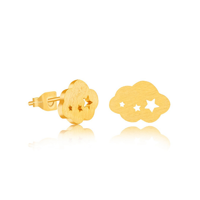 Modern Jewelry Gold Plated Silver Nuage Stainless Steel Cloud Star Stud Earring For Women 2016 Bvl Boho Pendientes Hombre(China (Mainland))