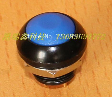 [SA]M12 waterproof switch reset button Taiwan Deli Wei PAS6 black metal edge with circular blue button lock--20pcs/lot<br><br>Aliexpress