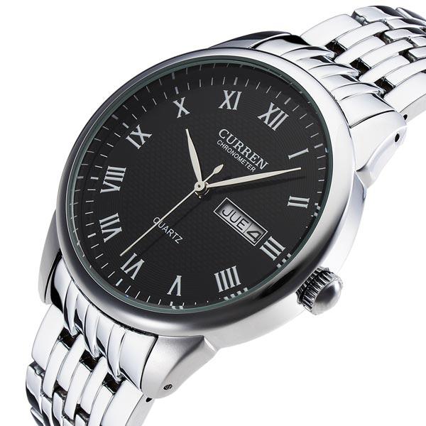 2015 New CURREN 8086 Men Black Wrist Quartz Watch Date Number Analog Stainless Steel Wristwatch relogio masculino Free Shipping(China (Mainland))