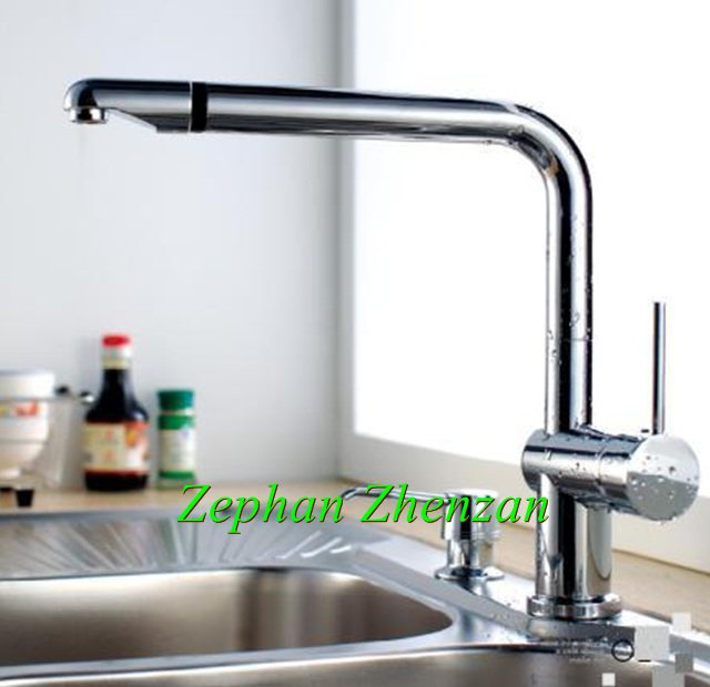 Gold supplier Single Handle Swivel Kitchen faucet Mixure tap Brass Chrome Sink Faucet(China (Mainland))